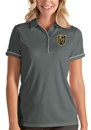 Antigua Vegas Golden Knights Womens Grey Salute Short Sleeve Polo Shirt