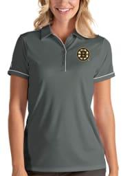 Antigua Boston Bruins Womens Grey Salute Short Sleeve Polo Shirt