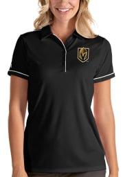 Antigua Vegas Golden Knights Womens Black Salute Short Sleeve Polo Shirt