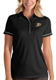 Antigua Anaheim Ducks Womens Black Salute Short Sleeve Polo Shirt