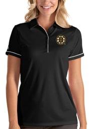 Antigua Boston Bruins Womens Black Salute Short Sleeve Polo Shirt