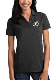 Antigua Tampa Bay Lightning Womens Grey Tribute Short Sleeve Polo Shirt