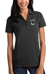 Antigua Vancouver Canucks Womens Grey Tribute Short Sleeve Polo Shirt