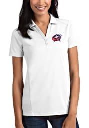 Antigua Columbus Blue Jackets Womens White Tribute Short Sleeve Polo Shirt