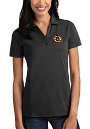 Antigua Boston Bruins Womens Grey Tribute Short Sleeve Polo Shirt