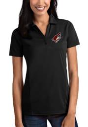 Antigua Arizona Coyotes Womens Black Tribute Short Sleeve Polo Shirt
