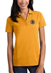 Antigua Boston Bruins Womens Gold Tribute Short Sleeve Polo Shirt