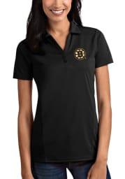 Antigua Boston Bruins Womens Black Tribute Short Sleeve Polo Shirt
