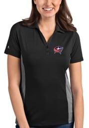 Antigua Columbus Blue Jackets Womens Grey Venture Short Sleeve Polo Shirt