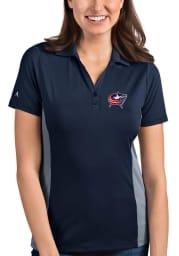 Antigua Columbus Blue Jackets Womens Navy Blue Venture Short Sleeve Polo Shirt