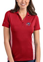 Antigua Columbus Blue Jackets Womens Red Venture Short Sleeve Polo Shirt