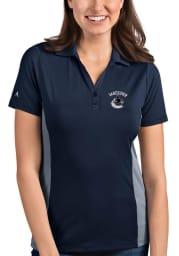 Antigua Vancouver Canucks Womens Navy Blue Venture Short Sleeve Polo Shirt