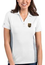 Antigua Vegas Golden Knights Womens White Venture Short Sleeve Polo Shirt