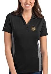 Antigua Boston Bruins Womens Grey Venture Short Sleeve Polo Shirt