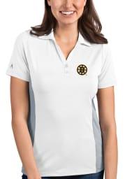 Antigua Boston Bruins Womens White Venture Short Sleeve Polo Shirt