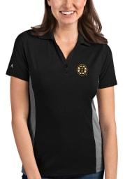 Antigua Boston Bruins Womens Black Venture Short Sleeve Polo Shirt