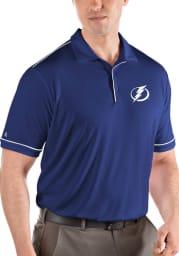 Antigua Tampa Bay Lightning Mens Blue Salute Short Sleeve Polo