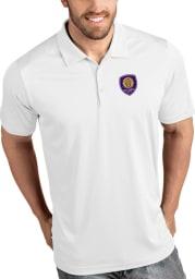 Antigua Orlando City SC Mens White Tribute Short Sleeve Polo