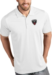 Antigua DC United Mens White Tribute Short Sleeve Polo