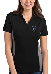 Antigua San Jose Earthquakes Womens Black Venture Short Sleeve Polo Shirt