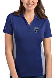 Antigua San Jose Earthquakes Womens Blue Venture Short Sleeve Polo Shirt