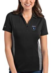 Antigua San Jose Earthquakes Womens Grey Venture Short Sleeve Polo Shirt