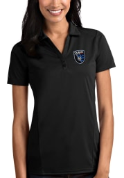 Antigua San Jose Earthquakes Womens Black Tribute Short Sleeve Polo Shirt