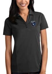 Antigua San Jose Earthquakes Womens Grey Tribute Short Sleeve Polo Shirt