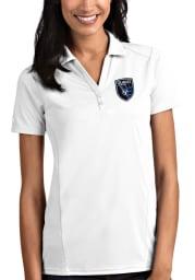 Antigua San Jose Earthquakes Womens White Tribute Short Sleeve Polo Shirt