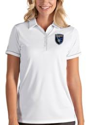 Antigua San Jose Earthquakes Womens White Salute Short Sleeve Polo Shirt
