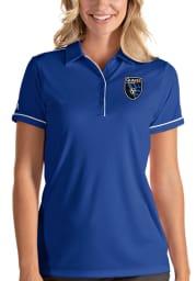 Antigua San Jose Earthquakes Womens Blue Salute Short Sleeve Polo Shirt