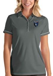 Antigua San Jose Earthquakes Womens Grey Salute Short Sleeve Polo Shirt