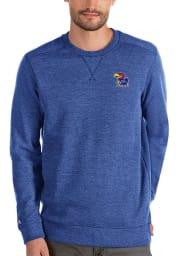 Antigua Kansas Jayhawks Mens Blue Defender Long Sleeve Sweater