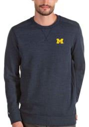 Antigua Michigan Wolverines Mens Navy Blue Defender Long Sleeve Sweater