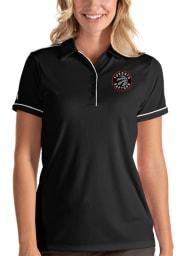 Antigua Toronto Raptors Womens Black Salute Short Sleeve Polo Shirt
