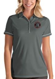 Antigua Toronto Raptors Womens Grey Salute Short Sleeve Polo Shirt