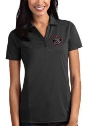 Antigua Toronto Raptors Womens Grey Tribute Short Sleeve Polo Shirt