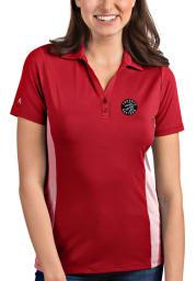 Antigua Toronto Raptors Womens Red Venture Short Sleeve Polo Shirt