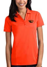 Antigua Oregon State Beavers Womens Orange Tribute Short Sleeve Polo Shirt