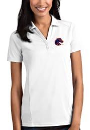 Antigua Boise State Broncos Womens White Tribute Short Sleeve Polo Shirt