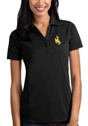 Antigua Wyoming Cowboys Womens Black Tribute Short Sleeve Polo Shirt