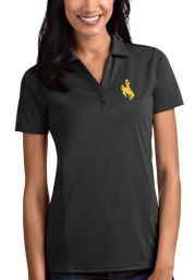 Antigua Wyoming Cowboys Womens Grey Tribute Short Sleeve Polo Shirt