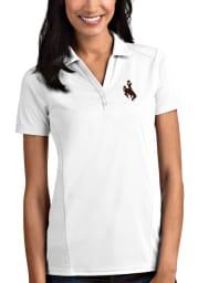 Antigua Wyoming Cowboys Womens White Tribute Short Sleeve Polo Shirt