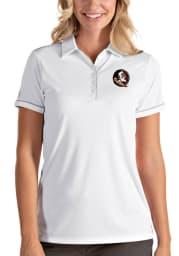 Antigua Florida State Seminoles Womens White Salute Short Sleeve Polo Shirt