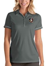 Antigua Florida State Seminoles Womens Grey Salute Short Sleeve Polo Shirt