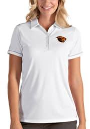 Antigua Oregon State Beavers Womens White Salute Short Sleeve Polo Shirt