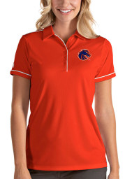 Antigua Boise State Broncos Womens Orange Salute Short Sleeve Polo Shirt