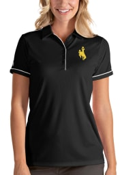 Antigua Wyoming Cowboys Womens Black Salute Short Sleeve Polo Shirt