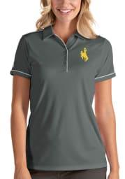Antigua Wyoming Cowboys Womens Grey Salute Short Sleeve Polo Shirt