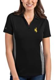 Antigua Wyoming Cowboys Womens Black Venture Short Sleeve Polo Shirt